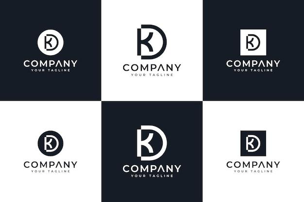 Zestaw kreatywnego projektowania logo litery kd do wszystkich zastosowań