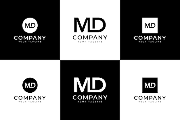Zestaw kreatywnego projektowania logo litery md do wszystkich zastosowań