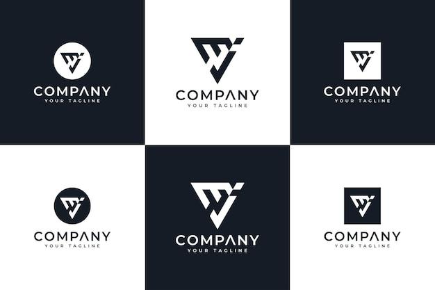 Zestaw kreatywnego projektowania logo litery mj do wszystkich zastosowań
