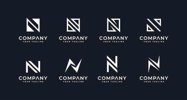 Zestaw kreatywnego projektowania logo litery n do wszystkich zastosowań