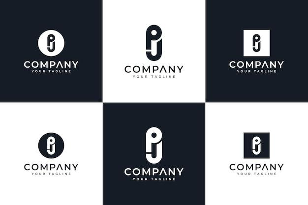 Zestaw kreatywnego projektowania logo litery pj do wszystkich zastosowań