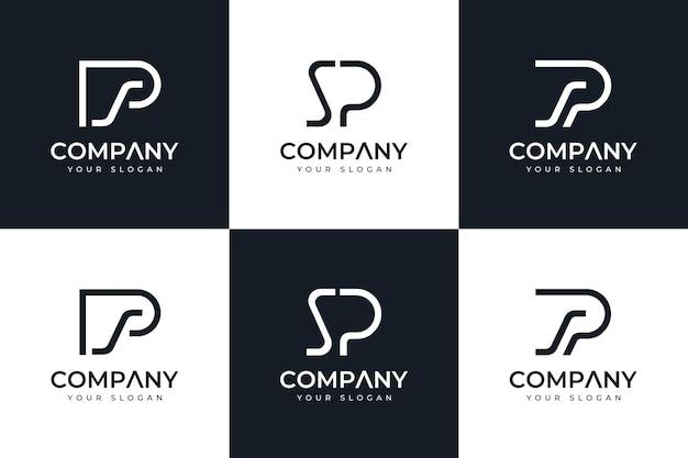 Zestaw kreatywnego projektowania logo litery sp do wszystkich zastosowań