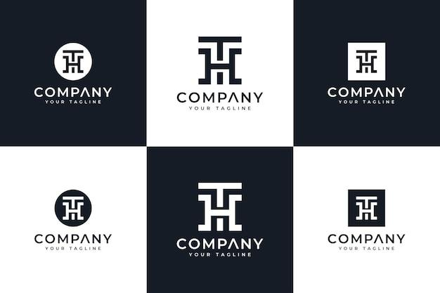 Zestaw kreatywnego projektowania logo litery th do wszystkich zastosowań