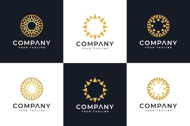 Zestaw kreatywnego projektowania logo luksusowego koła do wszystkich zastosowań