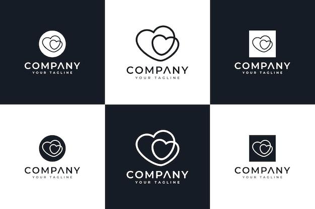 Zestaw kreatywnego projektowania logo miłości do wszystkich zastosowań