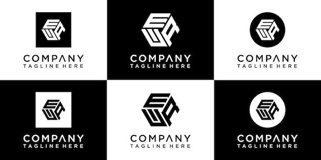 Zestaw kreatywnego projektowania logo monogramu sześciokątnego