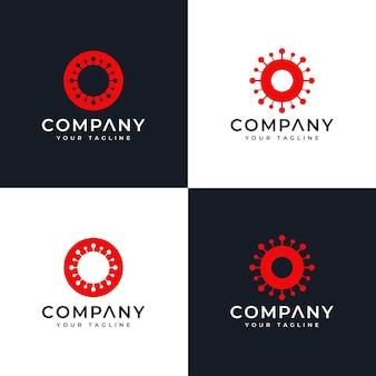 Zestaw kreatywnego projektowania logo wirusa korony o literę o do wszystkich zastosowań