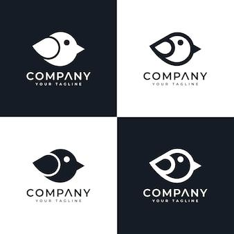 Zestaw kreatywnego projektowania minimalistycznego logo ptaka do wszystkich zastosowań
