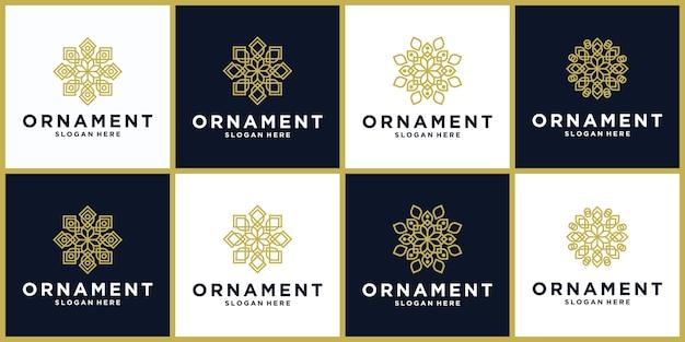 Zestaw kreatywnego projektu ikony logo ornament w kolorze złotym