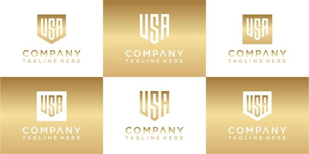 Zestaw kreatywnego projektu logo z monogramem złota