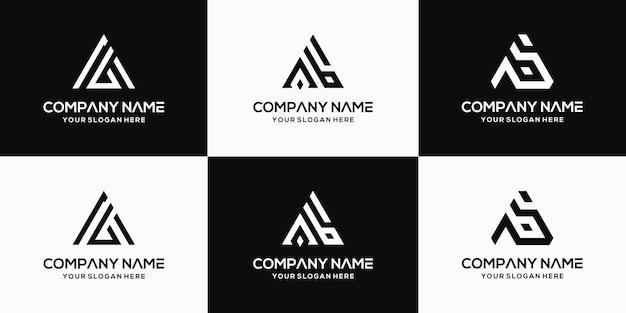 Zestaw kreatywnego szablonu projektu logo litery ab