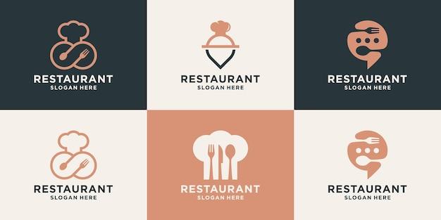 Zestaw kreatywnego szablonu projektu logo restauracji