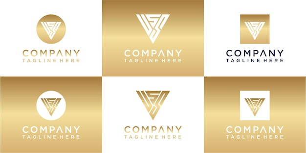 Zestaw kreatywnego trójkątnego złotego logo z monogramem