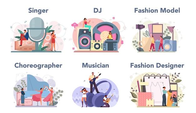 Zestaw kreatywnego zawodu. projektantka mody i dj w pracy, tancerka i muzyk. zbiór hobby i nowoczesnego zawodu.