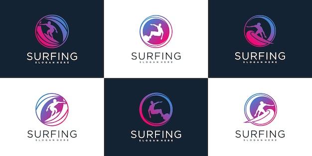 Zestaw kreatywnej kolekcji projektów logo surfowania z luksusowym kolorem gradientów premium wektor
