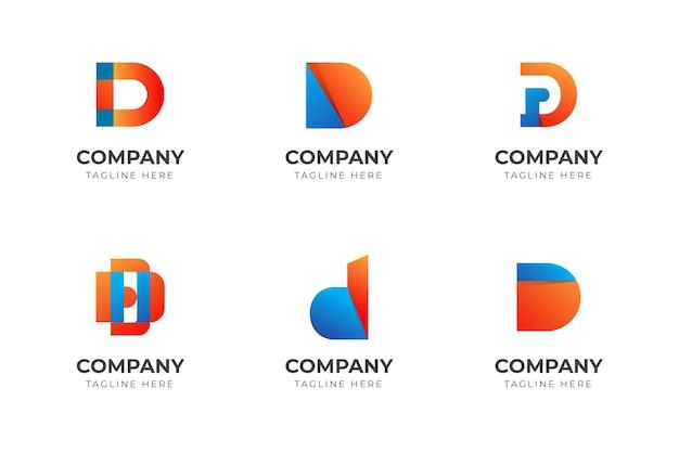 Zestaw kreatywnej kolekcji szablonów projektu logo litery d