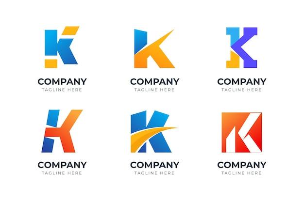 Zestaw kreatywnej kolekcji szablonów projektu logo litery k
