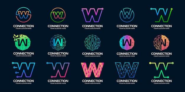 Zestaw kreatywnej litery w projektowanie logo nowoczesnej technologii cyfrowej logo może być używane do technologii