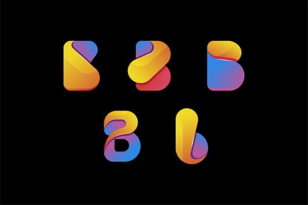 Zestaw kreatywny kolorowy list b logo