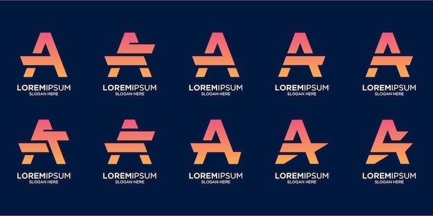 Zestaw kreatywny list monogram projekt logo