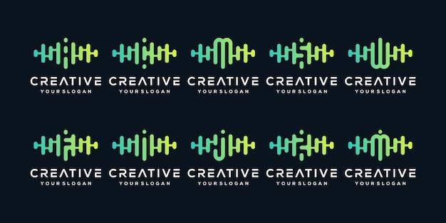 Zestaw kreatywny list z pulsem. szablon logo