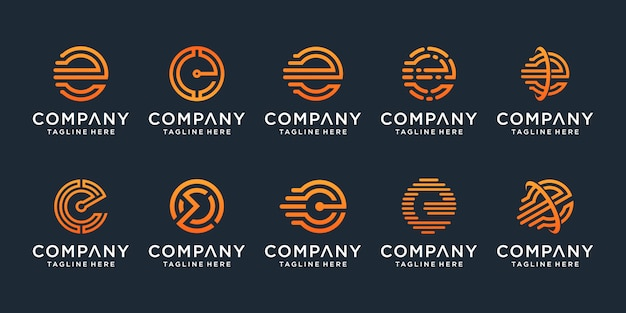 Zestaw kreatywny litera e logo szablon projektu. dla biznesu luksusowego, eleganckiego, prostego.