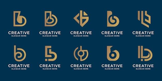 Zestaw kreatywny monogram b złoty szablon projektu logo. symbol technologii biznesowej, doradztwo.