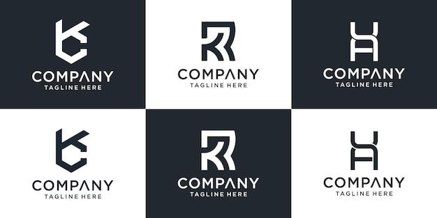 Zestaw kreatywny monogram list kr logo szablon