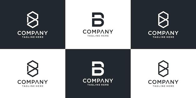 Zestaw kreatywny monogram litera b logo szablon