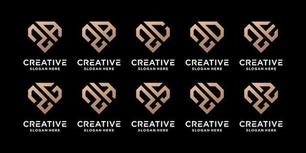 Zestaw kreatywny pakiet monogram logo szablon projektu początkowa litera z w połączeniu z innymi. ikony dla firmy i osobiste. wektor premium