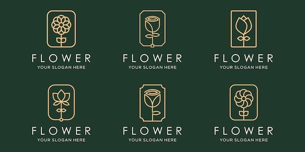 Zestaw kreatywny róża logo i ikony. wektor szablonu projektu.