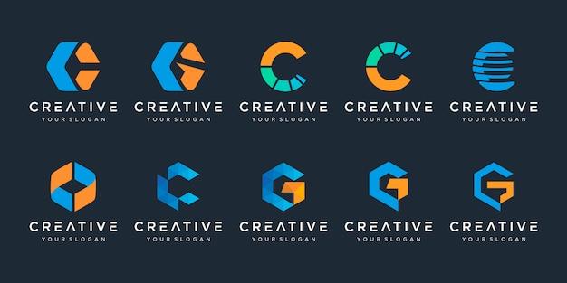 Zestaw kreatywny szablon logo litera c.