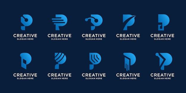 Zestaw kreatywny szablon projektu logo litera p. początkowe logo dla abstrakcyjnego projektu technologii.