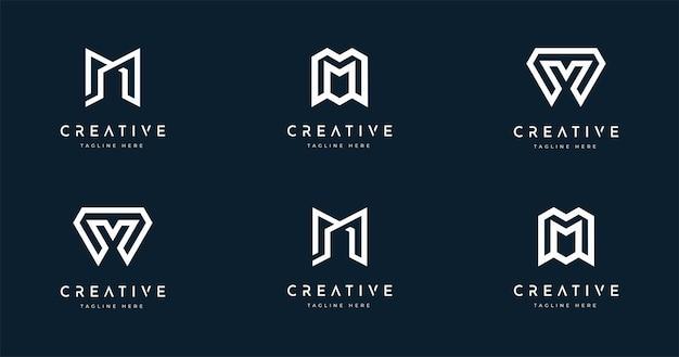 Zestaw kreatywny szablon projektu logo stylu monogram litery m m
