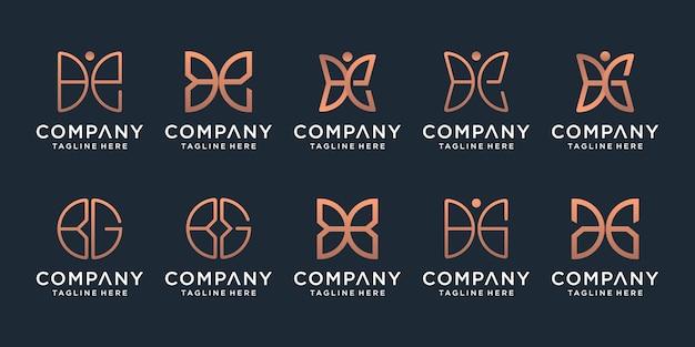 Zestaw kreatywny złoty minimalistyczny motyl linii sztuki monogram logo. piękno, luksusowy styl spa.