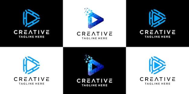 Zestaw kreatywnych abstrakcyjnych gier logo technologii cyfrowej.