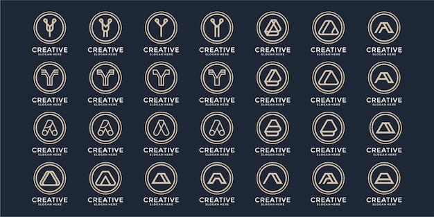 Zestaw kreatywnych abstrakcyjnych listów z kolekcji logo f2