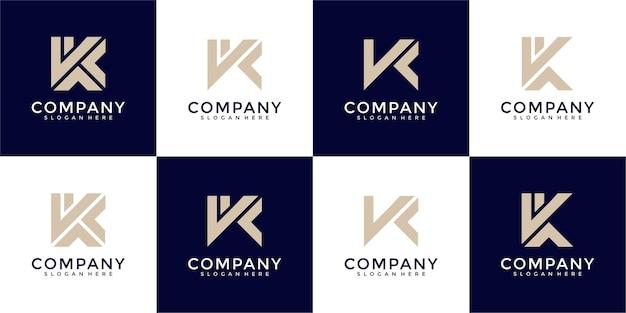 Zestaw kreatywnych abstrakcyjnych listów z kolekcji logo k