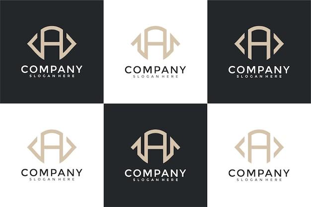 Zestaw kreatywnych abstrakcyjnych listów z kolekcji projektów logo