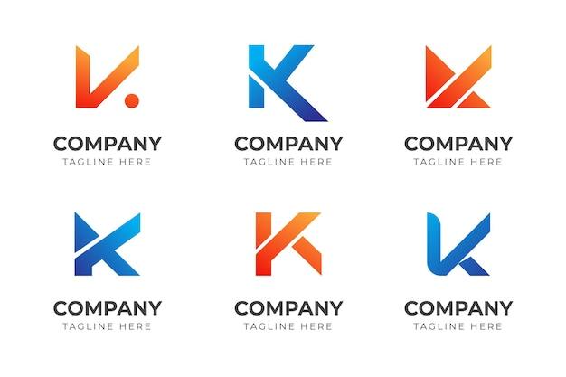 Zestaw kreatywnych abstrakcyjnych liter k logo szablon kolekcji