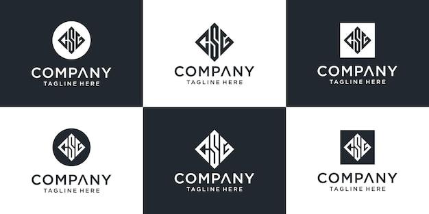 Zestaw kreatywnych abstrakcyjnych monogramów list inspiracji logo csg