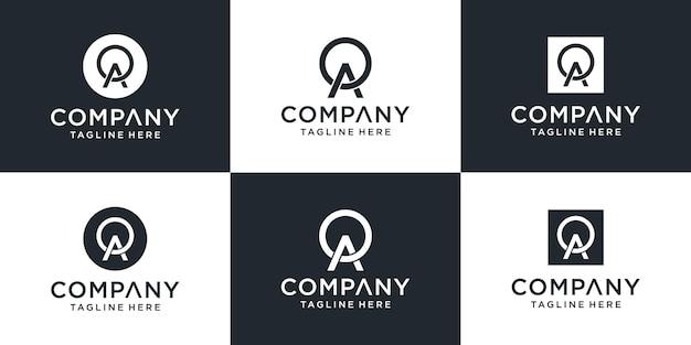 Zestaw kreatywnych abstrakcyjnych monogramów list inspiracji projektowania logo oa