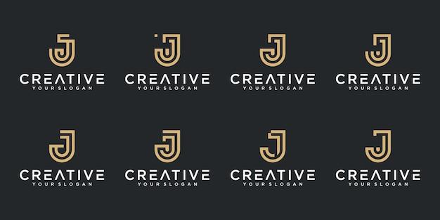 Zestaw kreatywnych abstrakcyjnych monogramów litera j logo kolekcja projektu