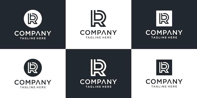 Zestaw kreatywnych abstrakcyjnych monogramów litera rb inspiracji projektowaniem logo