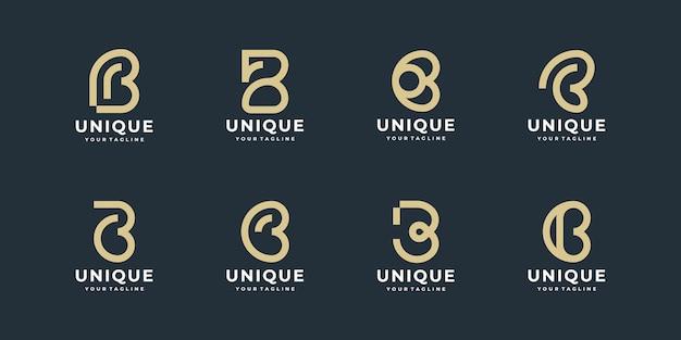 Zestaw kreatywnych abstrakcyjnych monogramów litery b projektowanie logo