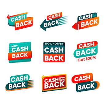 Zestaw kreatywnych etykiet cashback