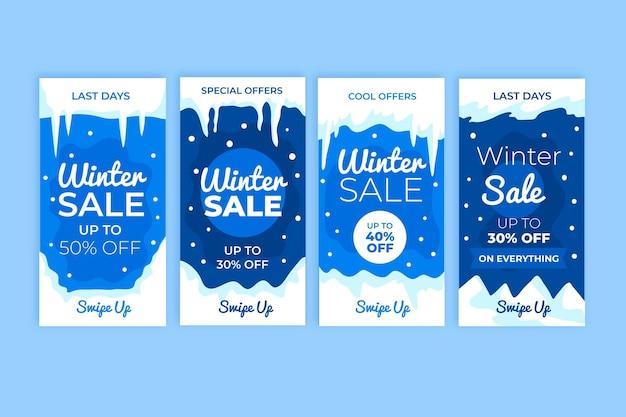 Zestaw kreatywnych historii sprzedaży zimowych