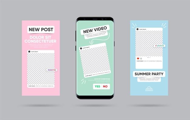 Zestaw kreatywnych historii. szablon dla mediów społecznościowych. motyw szablonu historii.