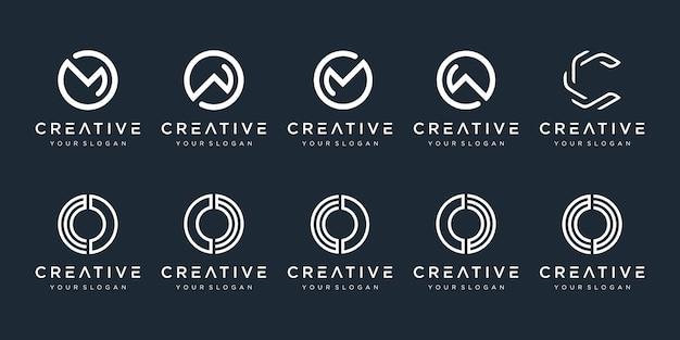 Zestaw kreatywnych ikon szablon projektu logo monogram dla biznesu technologii cyfrowej simple