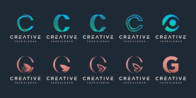 Zestaw kreatywnych ikon szablonu projektu logo litery c dla biznesu eleganckiego prostego